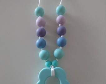 Silicone teething necklace flower light turquoise