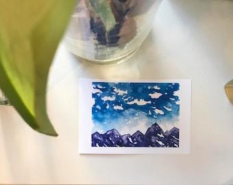 Purple Rockies - Original Watercolor Print and Postcard