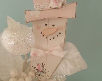 Shabby Chic Pink Snowman Ornament With Glitter and Hand Painted Roses Vintage Pink Snow Lady Ornament Winter Snowman