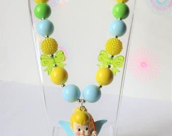Tinkerbell Chunky Bubblegum Necklace, Little Girl Chunky Necklace, Toddler Necklace, Girl Bubblegum Necklace, Girls Jewelry, Chunky Beads