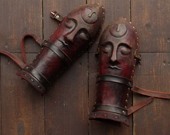 Medieval Leather Bracers with Elbows | Vambracers | Leather Armour