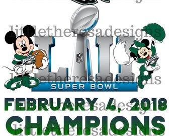 Mickey and Minnie Eagles Superbowl Champions Digital Image,Diy