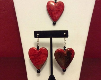 Jewelry Set,  Earrings and Pendant,  Red Heart Acrylic Beads