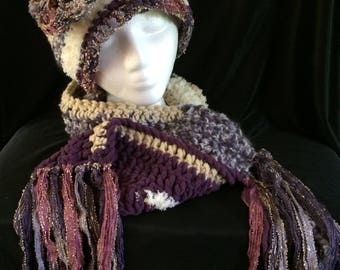 Crochet hat and scarf matching set
