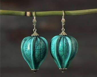 Girlfriend blue jewelry Large earrings for women Wife statement earrings Physalis botanical earrings Chinese lantern Jewelry idea for wife