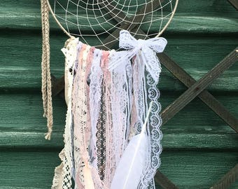 Pink And White Handmade-One of a kind, bohemian Sun/Dream Catchers for sale
