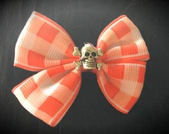 Red checked hair bow