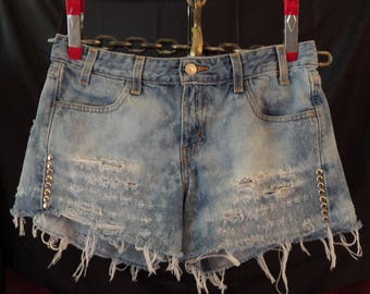 Levis Shorts Destroyed Denim - Bleached Denim Distressed Shorts Upcycled with Metal Studs