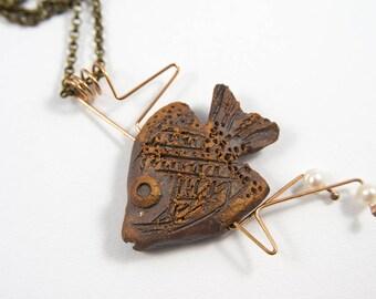 Fish necklace, Ceramic necklace, Ceramic jewelry, Minimalist jewelry, Fish jewelry, Pearl jewelry, Bronze jewelry, Bronze pendant, For her