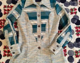 Vintage Western Turquoise White and Beige Heathered Paneled Long Sleeve Pointy Collar Striped Shirt Groovy Cowgirl
