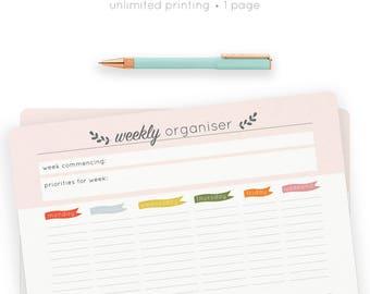 Weekly Organiser | Printable Planner | Weekly Planner | Daily Tasks | To Do List | Printable Download | Digital | Stationery