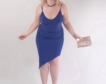 Asymmetric Royal Blue Cami Dress. Diagonal Hem Bright Blue Plus Size Dress. Size ML-XL