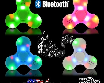 LED Bluetooth Speaker Fidget Spinner USB Rechargeable Color Changing Lights Toy w/ Optional Matching Color Braided USB Charger