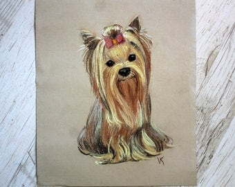 Pastel drowing portrait ORIGINAL Custom pet portrait Made to order picture Dog cat illustration Gift for animal lover York dog Cute dog