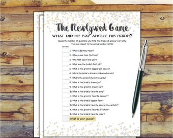 The Newlywed Game Bridal Shower Game - Gold Silver Confetti Theme Printable Bridal Shower Newlywed Game - Bachelorette Night - Hen Party
