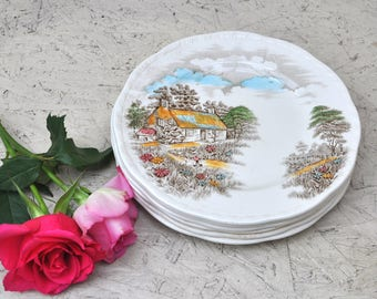 A Set of 6 Vintage 1950s English Porcelain Desert Plates By Alfred Meakin, Decorative Plates, Cake Plates