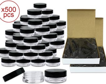 500 Pieces 3 Gram 3 ml Clear Round Plastic Small Sample Jars with Black Lids - Perfect for makeup glitter cream pigments Art Craft Supplies