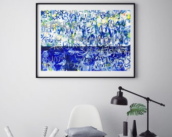 Original Abstract Painting Wall Art Modern Art Blue & White Painting Contemporary Home Decor Acrylic Graffiti
