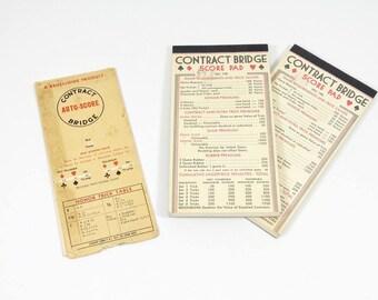 Bridge Pad Set, Vintage Bridge Auto-Score and Scoring Pads, Card Games, Vintage Games