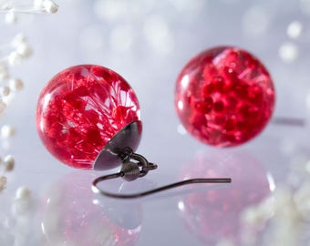 Charming Real Flowers Earrings - Red Babys Breath