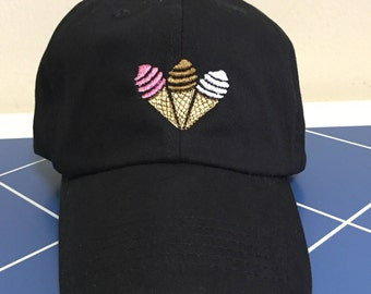 Ice Cream Cone Embroidered Unstructured 100% Cotton Polo Adjustable Baseball cap dad hat