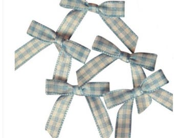 """Pre-tied Bows 24ct. Tiny Blue & White Gingham Checkered Bow Ties 1-3/16"""" x 1-1/4""""   Wedding Favors, Gift Wrap, Hair Bows"""