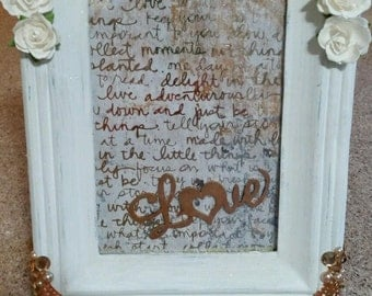 "Mixed media altered picture frame ""Love"""