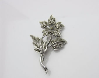 Vintage Costume Jewellery Brooch Pin Floral Sparkling Marcasite Accents Single Flower And Leaf Design Silver Tone Metal Circa 1950s