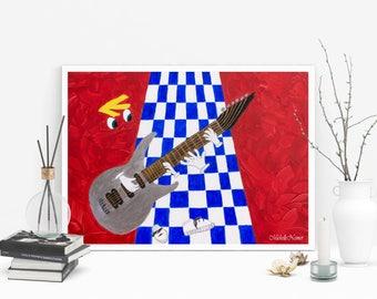 Rayman Painting, Guitarist Canvas, Surreal Print, Rayman Canvas, Guitarist  Print, Nostalgic