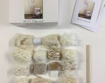 DIY kit to make self myself wall weaving gold and natural (wire, wool and detailed tutorial)