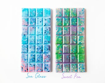 Sweet Pea | Sea Glass | Wax Melts (5.4 Oz) - Hand Poured Wax - Wax Snap Bars - Handmade Wax Melts - Sweet Pea - Sea Glass - Fresh Scents