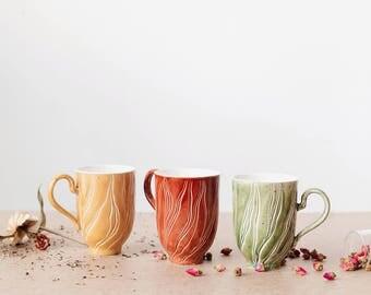 "Handmade pocelain cup ""Sun"" - minimalist design - pastel colors - modern functional ceramics"