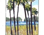original art|palms tree art|original painting| Florida art|wall art|tree painting|miniature art|palm tree art|palm art|lake palms art|