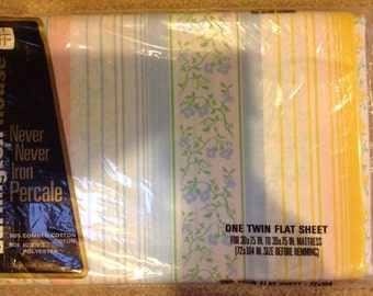 Burlington Silk Ribbons print Vintage twin flat sheet