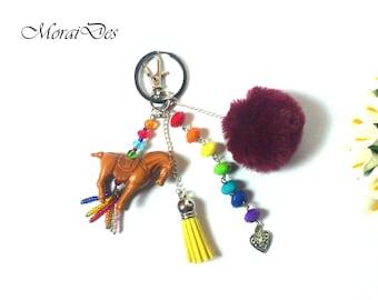 Keychain Horse - Colorful Keychain - Rainbow - Purple Pom Pom - Yellow Tassel - Pendant Horse / Pendant Animal - For Her / For Girls