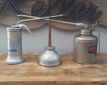 Lot of 3 Vintage Oiler Oil Cans Plews Eagle