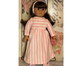 "4 Pc. Set for 18"" dolls. Fleece Nightgown, Slippers & Headband (Clothes only, American Girl Doll not included) Girl Toy Doll Clothes"