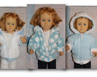 Fleece Winter Coat with Hood, Snap & Zipper for 20'' Dolls the size of the Vintage Chatty Cathy (Coat only, doll and clothes not included)