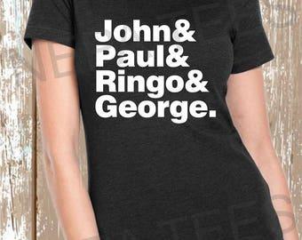John paul ringo & george t shirt, Beatles names t shirt, Beatles shirt, Beatles names shirt for men, Beatles names shirt for women