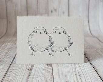 Two Birds Screen Printed Card - Greetings Card, Birds, Anniversary, Love Birds, Gifts For Him, Gifts For Her