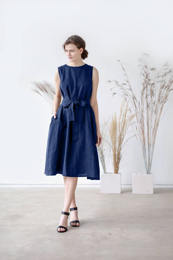 Navy blue summer dress women