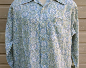 Vintage 70s Mens Button-Down Shirt