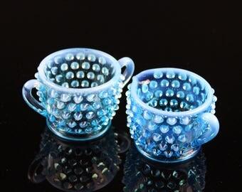 Fenton Blue Opalescent Hobnail Sugar and Creamer Set - Vintage