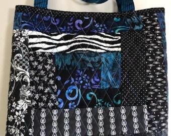 Machine-pieced cotton tote bag