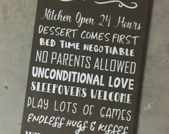 Mimi and Papa's House Rules, Grandparents Rules, Family Rules Sign, Gift from Grandkids, Grandparents Sign