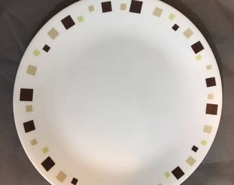 "Vintage Corelle 10 1/4"" Dinner Plate Geometric Design Brown Tan & Green Square"
