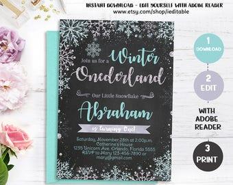 Winter Onederland Invitation, Chalkboard, Pink and Gold, Snowflake Boy 1st birthday, Winter Wonderland, Instant download, Editable invite