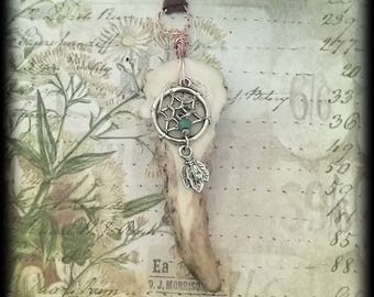 Antler & Dreamcatcher Charm, Wire Wrapped, Faux Leather Necklace