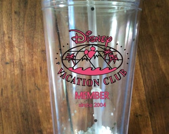 Disney Vacation Club DVC Member Cup with lid and straw personalized with member year for hot or cold drink