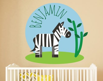 Black And White Zebra Name Wall Decal   Zebra Wall Decor   Children  Personalized Name Home